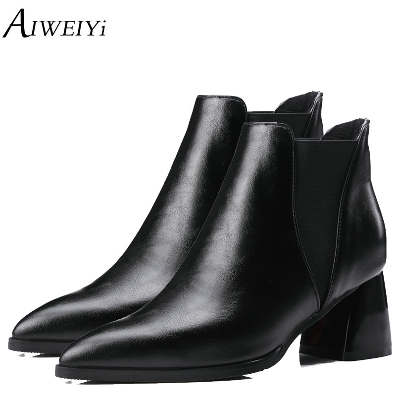AIWEIYi Fashion Ankle Boots for Women 2018 Pointed Toe Boots Autumn Winter High Heels Platform Shoes Woman Sexy Women Boots brand women autumn winter boots 8 5 cm square heels fashion stretch fabric socks boots woman pointed toe boots for women k 067