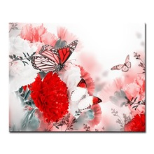 Red Flowers and Butterflies Picture By Numbers DIY Painting Kits Hand painted On Linen Canvas Modern Home Decorative Unique Gift