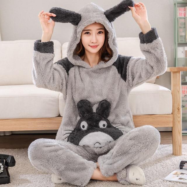 Gray Cartoon Totoro Pajamas Set Winter Women Flannel Sleepwear Animal 2PCS  Nightwear Casual Pyjama Cosplay Animal d778d3114