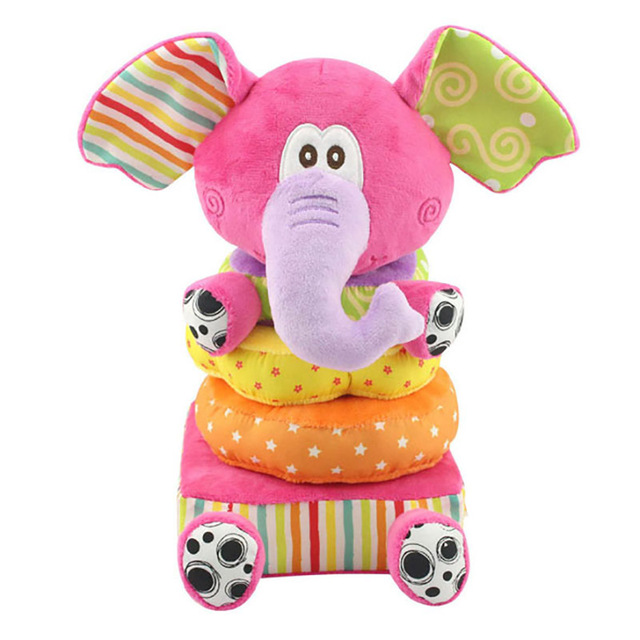 2016 Interesting Stacking Baby Rattle Toys Elephant Plush Toys Infant Baby Intellectual Development Baby Toys -- BYC085 PT49