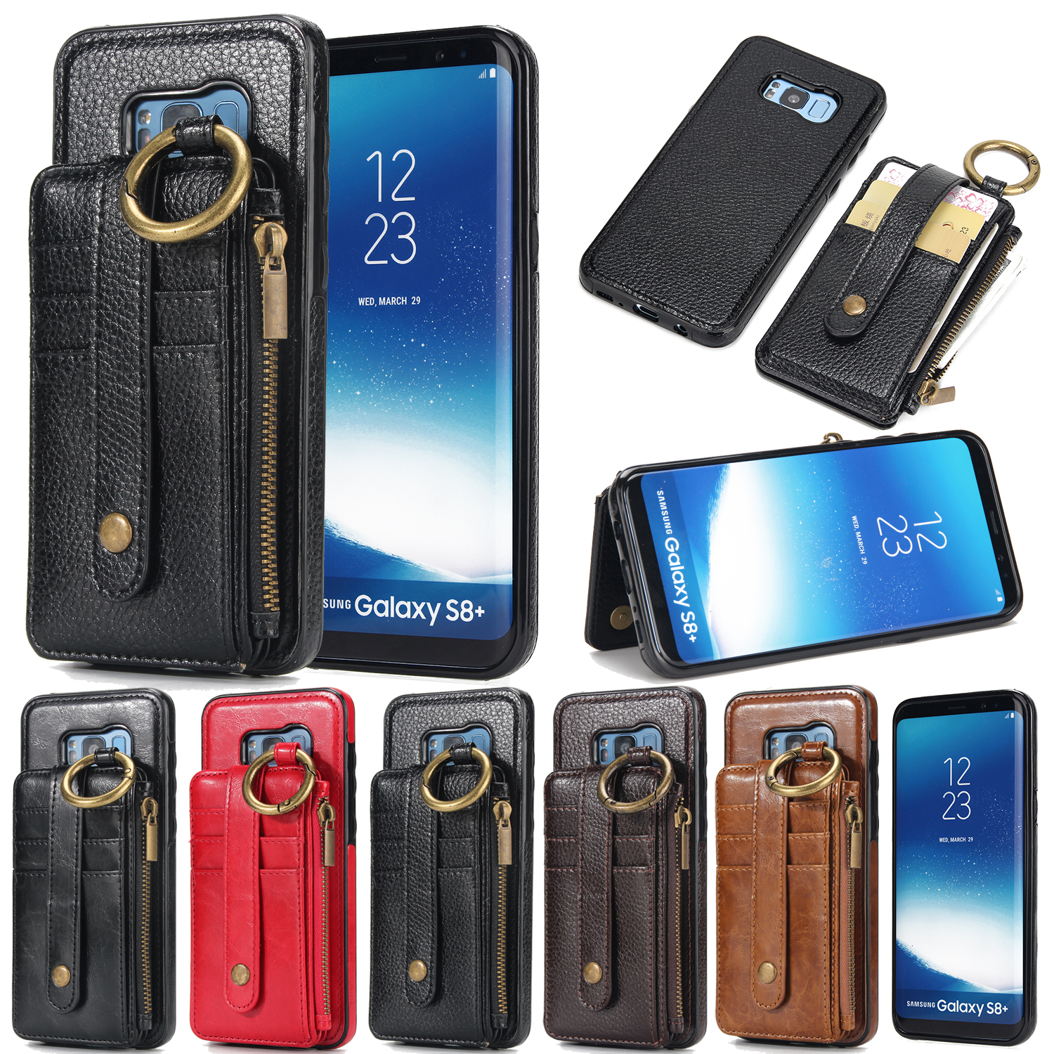Leather Wallet Flip Case for Iphone X 8 7 6 6S Plus 5 5S SE Samsung S8 S7 S6 Litchi Pattern Card Stand Detachable Dual Use Cover