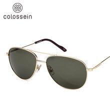 COLOSSEIN Orange Label 2017 Fashion Sunglasses Metal Oval Frame Polarized Lenses Women Men Vintage Eyewear Glasses New Arrival