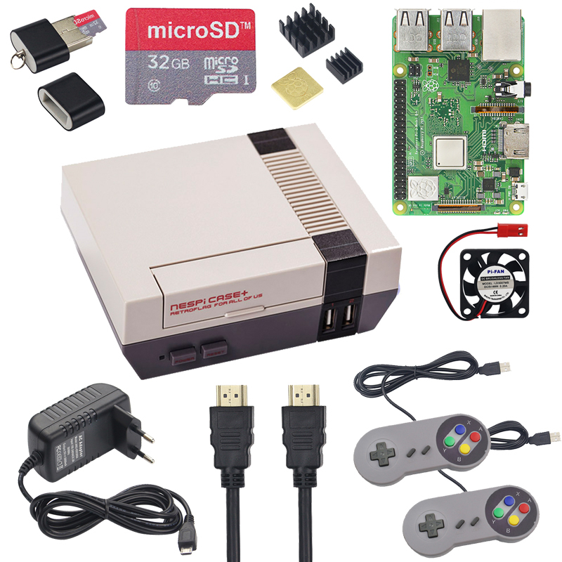 NESPi CASE+ Raspberry Pi 3 Model B+ Kits + 32GB SD Card + 3A Power Adapter + Heat Sink + 2 Gamepad Controller For Retropie