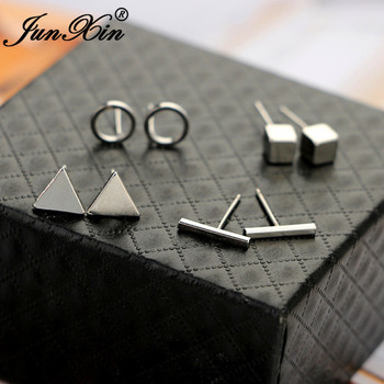 JUNXIN Geometry Small Bar Stud Earrings For Women Men Silver Gold Black Metal Triangle Square Earrings.jpg 350x350 - JUNXIN Geometry Small Bar Stud Earrings For Women Men Silver Gold Black Metal Triangle Square Earrings Set Female Male Studs