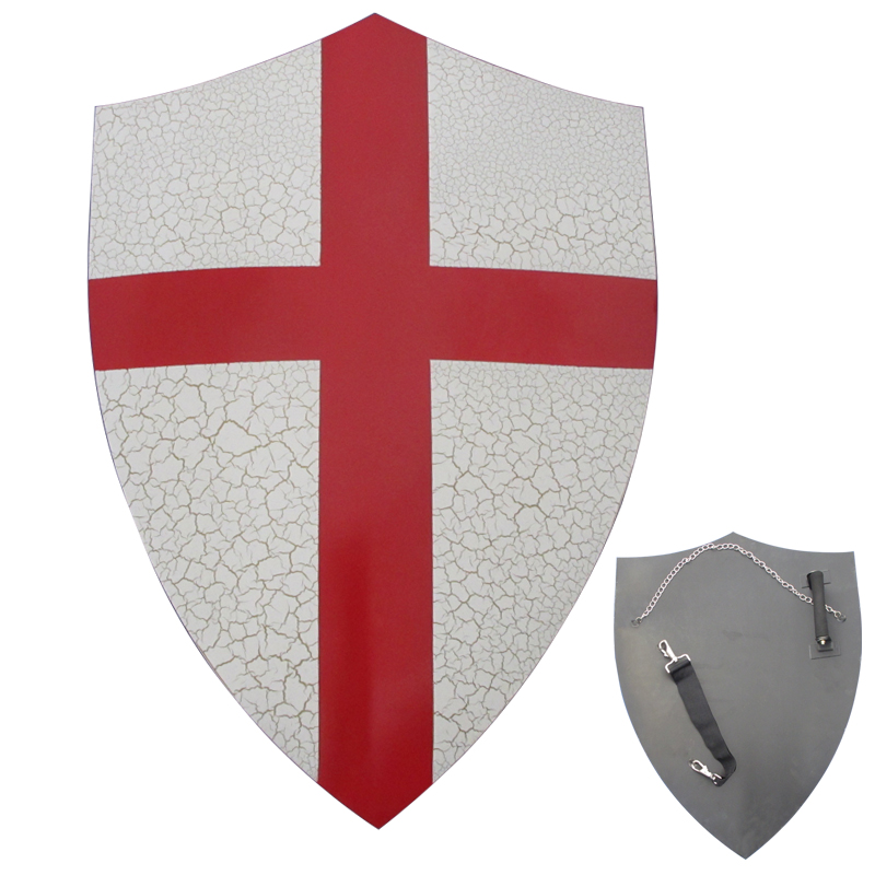 Medieval Shields For Movie Templar Knights Red Cross Crusader Shield Wall Hanging Ornaments Real Steel Material