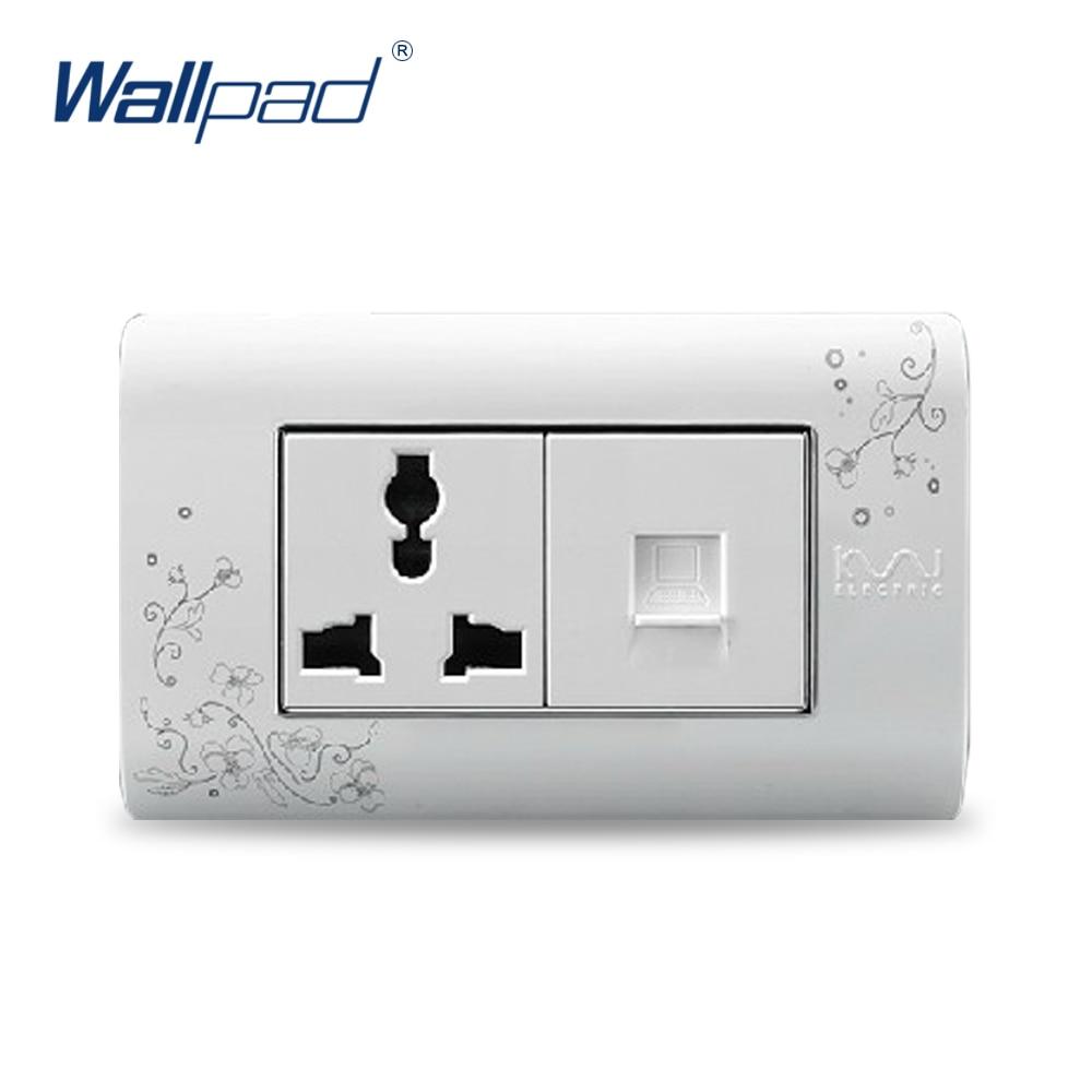 2018 Hot Sale Computer 3 Pin Socket Wallpad Luxury Wall Switch Panel Plug Socket 118*72mm 10A 110~250V