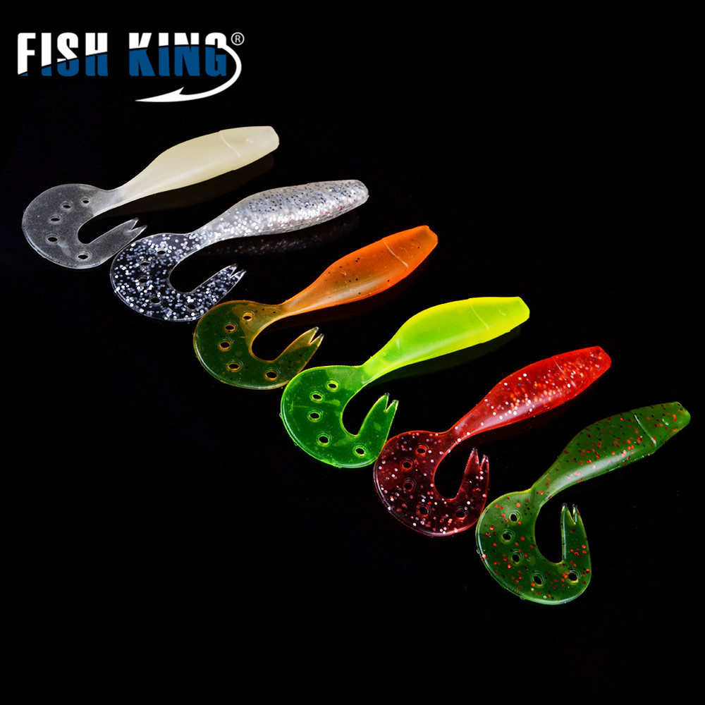 FISH KING 9CM/6.6G  5pcs/Lot Shad Bait Swimbait for Fishing Worm Fishing Soft  Accessories Soft Lure
