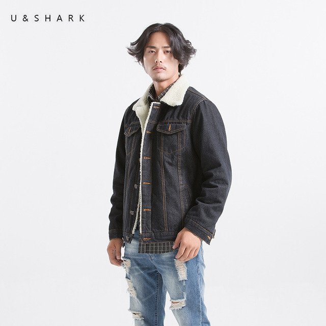 U Shark Mens Black Denim Jackets Men Vintage Style Wool Liner