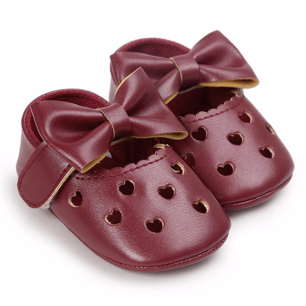 PU Leather Newborn Baby Girls Princess Heart-Shaped Mary Jane Big Bow Prewalkers Soft Bottom Shoes Crib Babe Ballet Wine Red