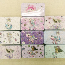 10pc/lot Mermaid Printing Tin Box For Candy Tea Jewelry Organizer Card Case Chocolate Small Things Storage Trcket