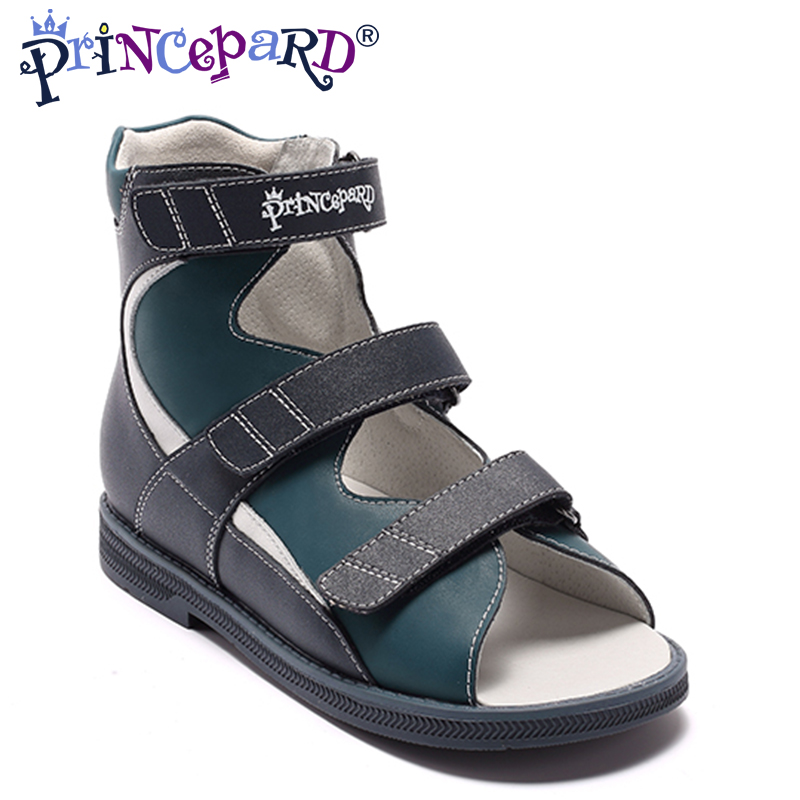Princepard Boys Shoes New2018 Summer Kids Sandals genuine Leather Flat Children's Shoes for Toddler Boys Orthopedic Baby Sandals princepard genuine leather boys girls orthopedic footwears include orthotic arch support flat foot kids shoes baby shoes