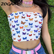 ZOGAA Sexy Multicolor Butterfly Print Strapless Slash Neck Tube Tops Fashion 2019 Summer Women Slim Crop Tops Female Streetwear sexy girl strapless slash neck crop tops women streetwear cotton yellow long sleeve slim tshirt 2019 summer midriff baring top