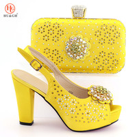 Yellow Color Wedding Matching Women Shoe and Bag Set Decorated with Rhinestone Italian Shoe and Bag Set African Shoe and Bag Set