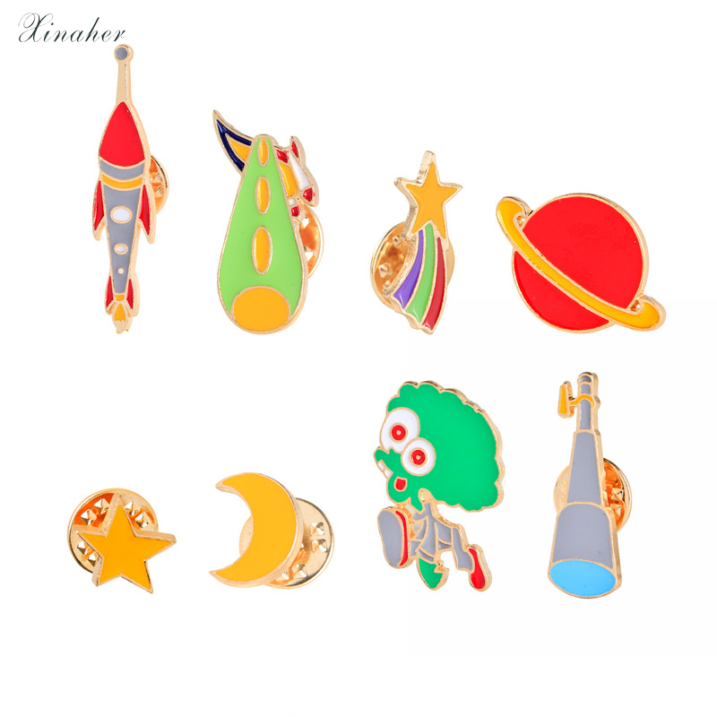 1pc Cute Telescope Universe Metal Badge Brooch Button Pins Denim Jacket Pin Jewelry Decoration Badge For Clothes Lapel Pins Selected Material Badges