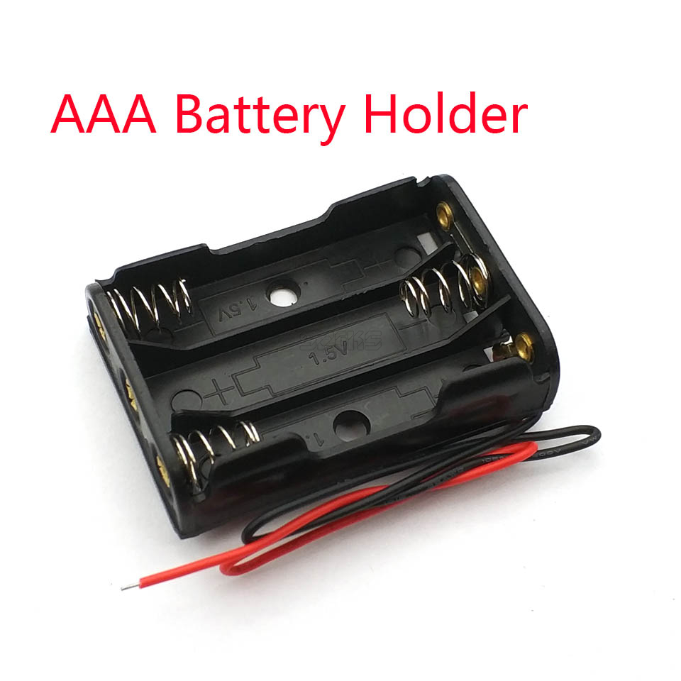 3 X AAA Battery Box Case Holder With Wire Leads Side By Side Battery Box Connecting Solder For 3pcs AAA Batteries