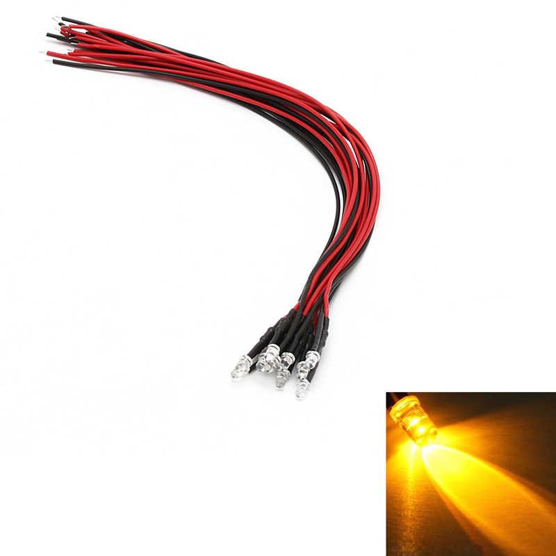 10Pcs 18cm 3mm/5mm Pre Wired LED מנורת אור הנורה פולטות דיודה DC 24V