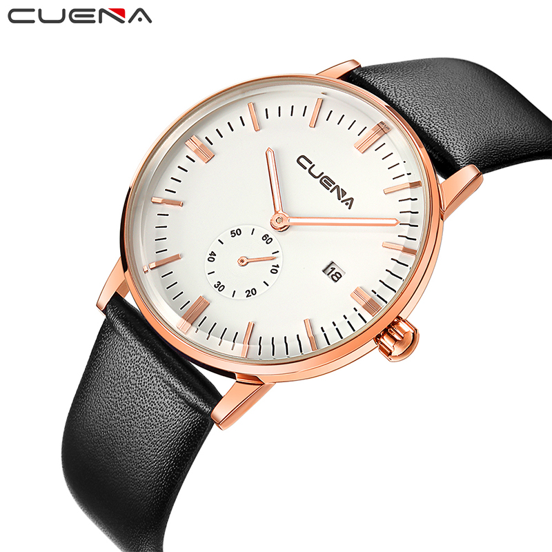 CUENA Fashion Mens Watches Top Brand Luxury Waterproof Genuine Leather Man Quartz Wristwatches Relogio Masculino Men Wrist Watch men fashion quartz watch mans full steel sports watches top brand luxury cuena relogio masculino wristwatches 6801g clock