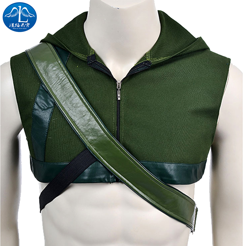 ManLuYunXiao Cosplay Costume Green Arrow Cosplay Costume Men's Adult Green Arrow Hoodie Free Shipping Custom Made