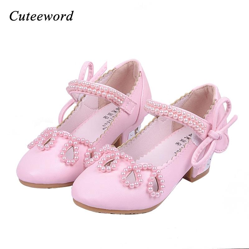 Moda nova crianças sapatos meninas sapatos de salto alto princesa frisado meninas festa de casamento crianças arco-laço sapatos de dança rosa ouro branco