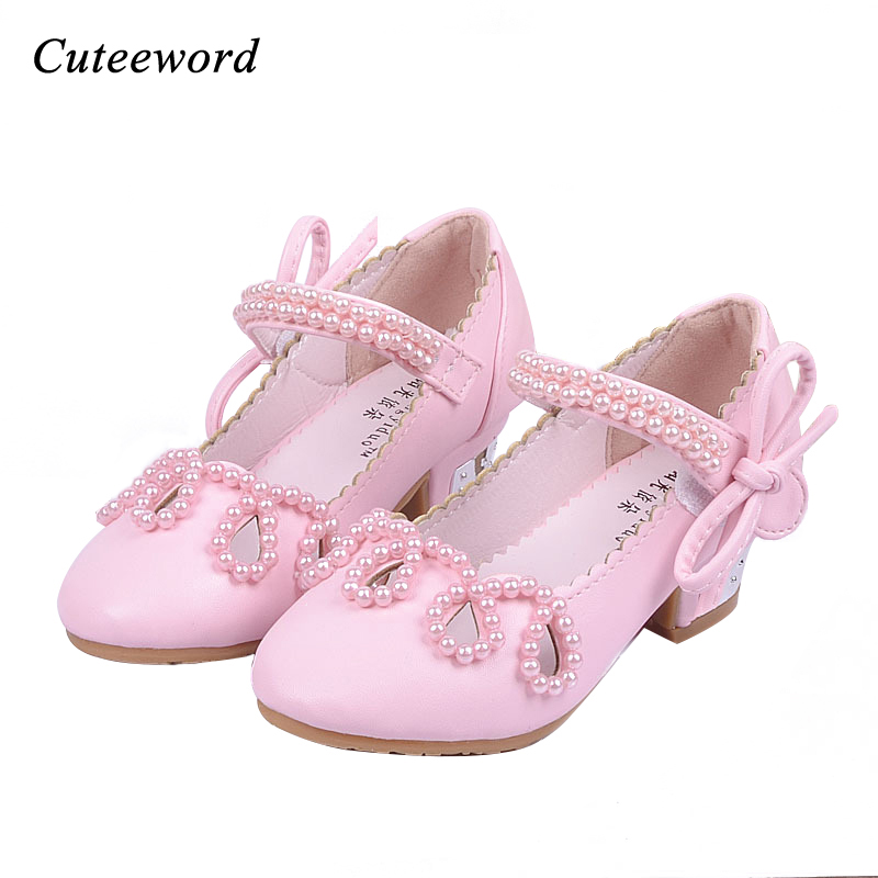 Fashion New children shoes girls high heels princess shoes beaded girls party wedding kids bow-tie dance shoes pink gold white