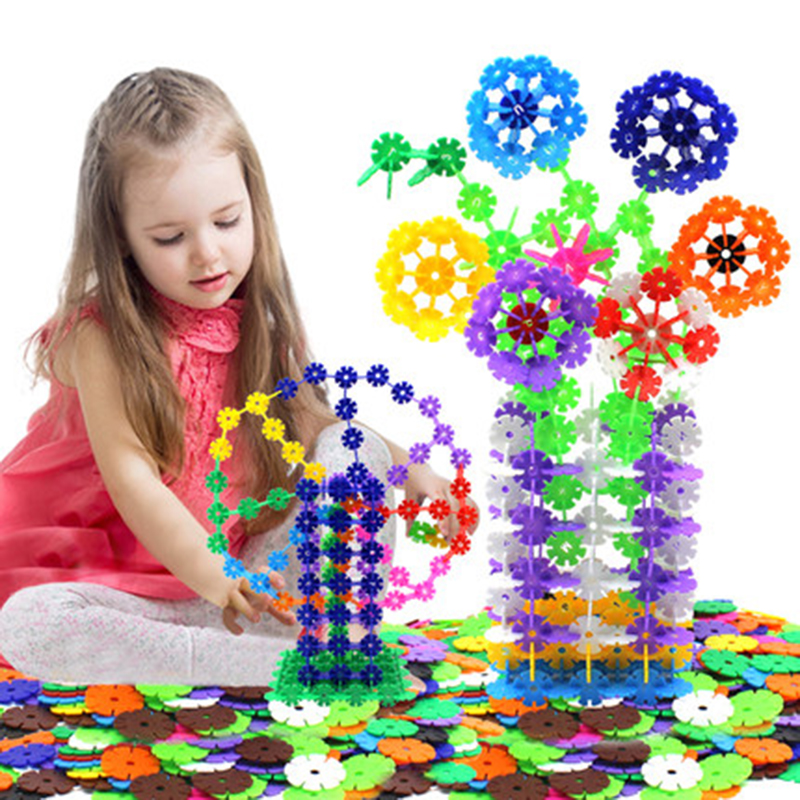 400pcs/lot Snowflake Building Blocks Educational DIY Toy Bricks Assembling Early Learning Classic Block Toys Kids Children Gift купить