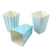 24 pcs/lot Livraison Gratuite Bébé Bleu Papier Boîte de Pop-Corn Bande Chevron Polka dot pour Bébé de douche De Mariage D'anniversaire