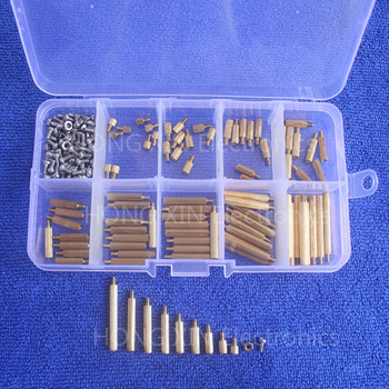 270Pcs/Set M2 3-25mm Male to Female Brass PCB Standoff Screw Nut Assortment Kit Set 50pcs lot m2 3 4 5 6 7 8 10 11 12 13 14 15 16 17 18 19 20mm brass round standoff spacer female female m2 brass threaded spacer