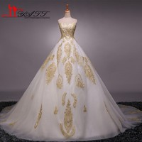 2017 Real photo Ball Gown Wedding Dress Sweetheart Gold Appliques Tulle Lace up Vestido De Noiva Cheap Wedding Gowns Custom