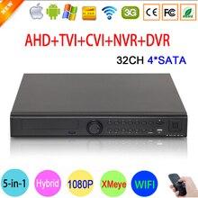 1080 P Cámara CCTV 32CH Hi3531A 32 Canal 4 SATA 6 en 1 1080N XVI Coaxial híbrida IP Wifi Onvif NVR CVI TVI AHD DVR Envío Gratis