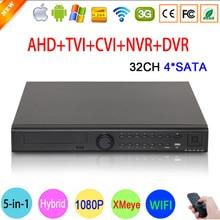 1080P CCTV Camera Hi3521A 32CH 32 Channel 4 SATA 5 in 1 1080N Hybrid Coaxial Wifi Onvif IP NVR TVI CVI AHD DVR Free Shipping