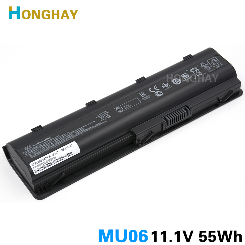 HONGHAY 55WH MU06 Laptop Battery for HP Pavilion G4 G6 G7 G32 G42 G56 G62 G72 CQ32 CQ42 CQ43 CQ62 CQ56 CQ72 DM4 MU09 593553-001 100wh original new laptop battery mu09 for hp pavilion g4 g6 g7 g32 g42 mu06 g56 g62 g72 cq32 cq42 cq62 cq72 dm4 593553 001
