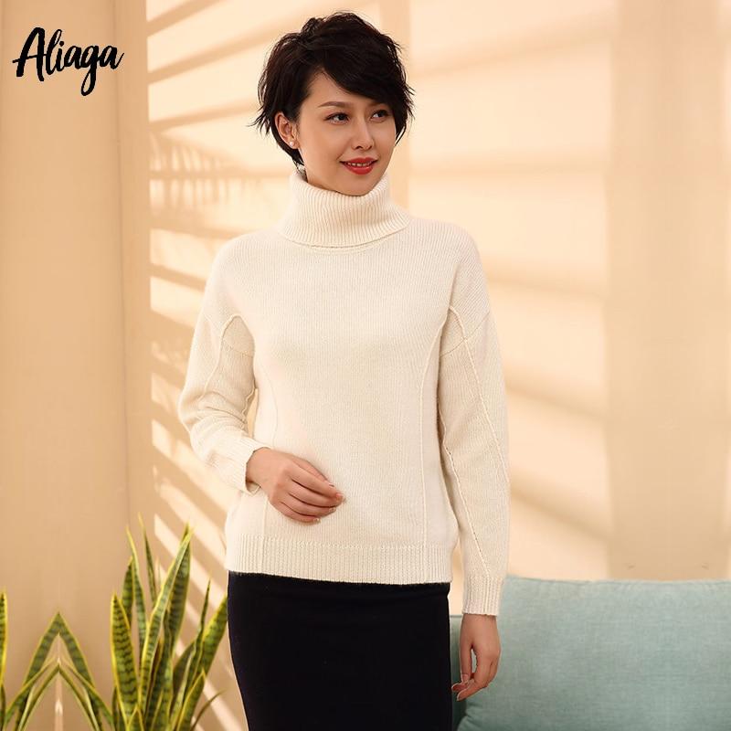 Женский кашемировый свитер с воротом зима 100 кашемир женский вязаный свитер Пуловеры корейский стиль свободные ребристые трикотажные джем
