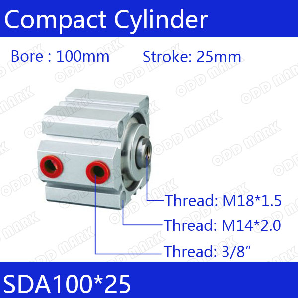 SDA100*25 Free shipping 100mm Bore 25mm Stroke Compact Air Cylinders SDA100X25 Dual Action Air Pneumatic Cylinder sda100 30 free shipping 100mm bore 30mm stroke compact air cylinders sda100x30 dual action air pneumatic cylinder