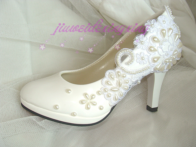 Handmade beading flower lace wedding shoes women s shoes bridesmaid shoes bridal shoes pumps 8 5cm