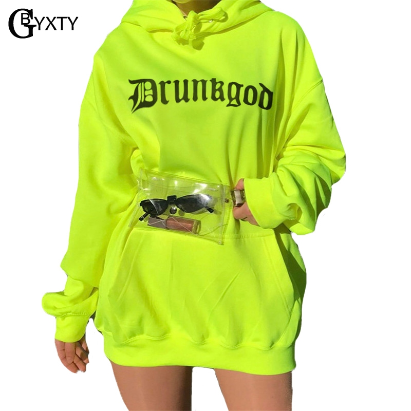 Hospitable Gbyxty Letter Print Boyfriend Style Oversized Neon Color Hoodies Casual Long Sleeve Hooded Hoodies Women Sweatshirt Za1238 Hoodies & Sweatshirts