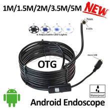 7mm Lens Micro USB Android OTG Endoscope Camera 5M 3.5M 2M 1.5M 1M Flexible Snake USB Pipe Android PC OTG USB Borescope Camera