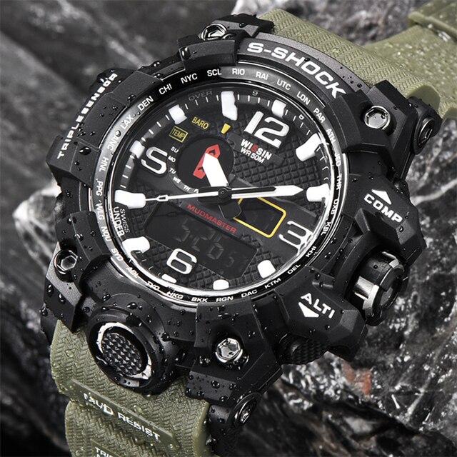 Новая мода Повседневные часы Для мужчин светодиодный цифровой-часы Для мужчин Повседневное Стиль Водонепроницаемый Военная Униформа спортивные наручные часы мужской Relogio Masculino
