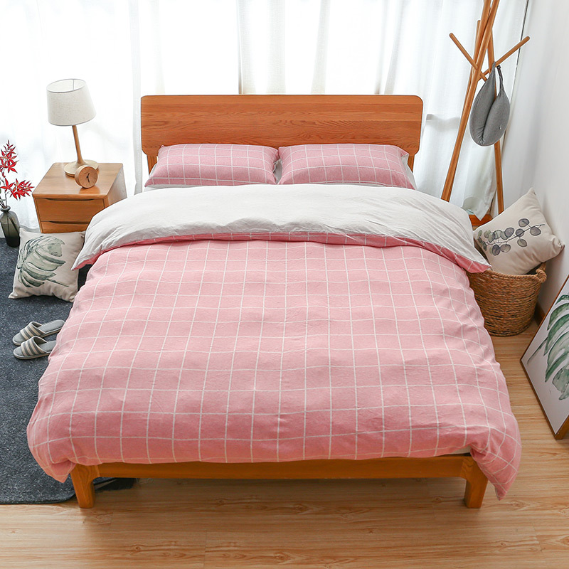 Junwell 100% Cotton Jersey Duvet Cover Set Yarn Dyed T shirt Fabric Quilt Cover Japanese Style Simple Stripe Design