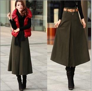 3 Colors Woolen Skirts 2013 Autumn Winter Women A-Line Maxi Long Skirt Thicken Wool Vintage Elegant Muslim Islam Slim Bust - best seller's store