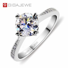 GIGAJEWE Moissanite Ring 1.0ct VVS1 Round Cut F Color Lab Diamond 925 Silver Jewelry Love Token Woman Girlfriend Courtship Gift