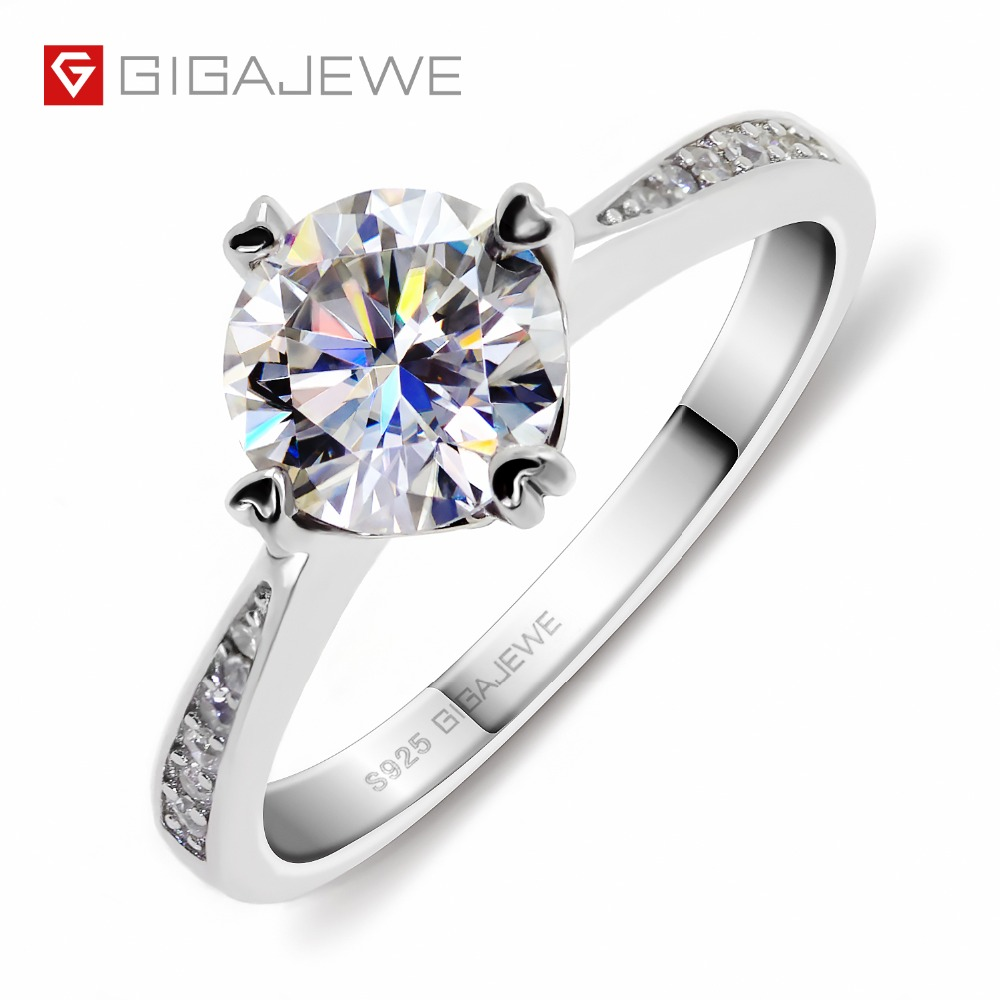 GIGAJEWE Moissanite bague 1.0ct VVS1 taille ronde F couleur laboratoire diamant 925 argent bijoux amour jeton femme petite amie Courtship cadeau