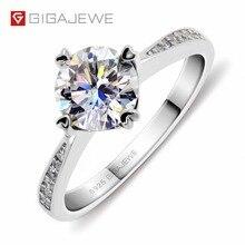 GIGAJEWE anillo de moissanita de corte redondo, diamante de laboratorio de Color F, joyería de plata 925, símbolo de amor, regalo de novia