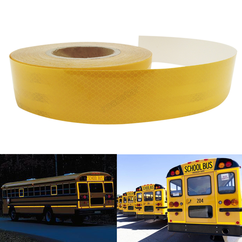 5CMx50M Reflective Tape Adhesive Stickers Decal Decoration Film Safety Motorcycle Stickers On School Bus
