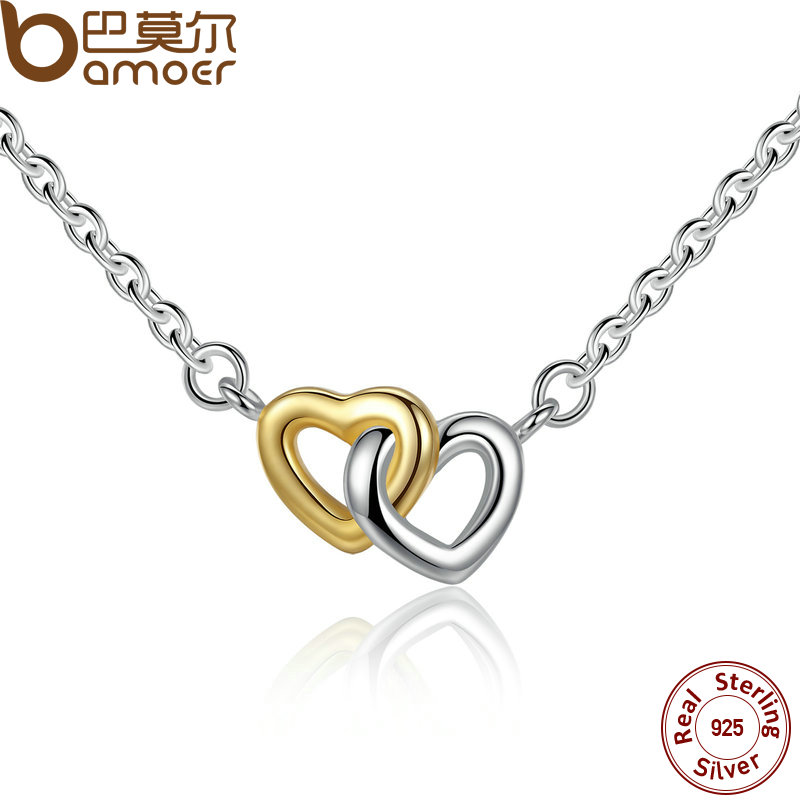 BAMOER 925 Sterling Silver United in Love Silver & Small Chain Necklace & Pendant For Women Sterling-Silver-Jewelry PSN011 bamoer 925 sterling silver