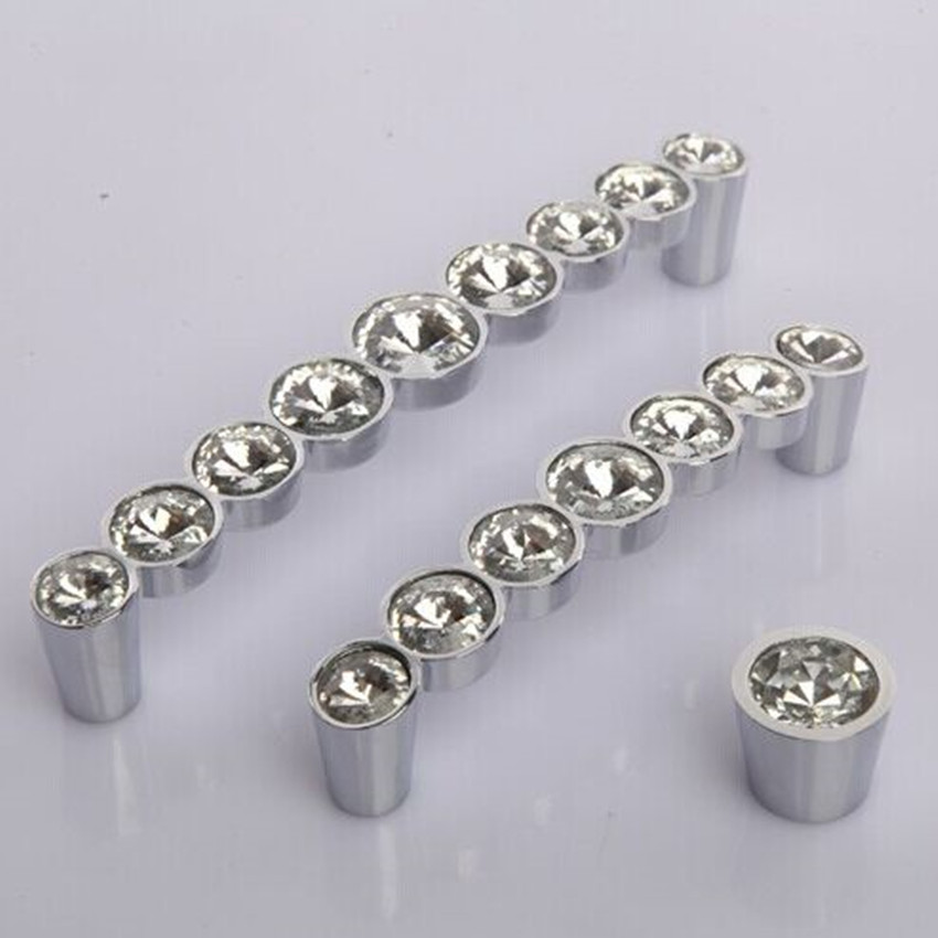 Modern Fashion glass diamond furniture handles 128mm clear crystal cabinet wardrobe door pulls silver chrome dresser handle 96mm 6 3 large glass dresser drawer handles pulls knob chrome silver modern crystal cupboard cabinet door handle 160 mm