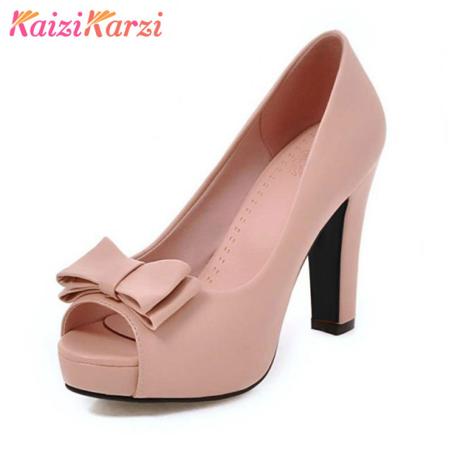 7331dd69077c KaiziKarzi Size 32-43 Ladies High Heel Shoes Women Peep Toe Platform Pumps  Sexy Office Wedding Bowtie Quality Slip On Shoes