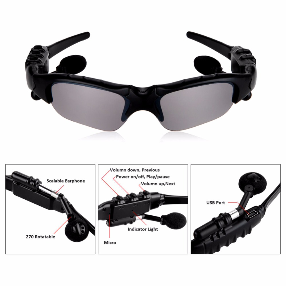 Outdoor Polarized Sunglasses 2 in 1 Wireless Bluetooth Headphone Sports Bicycle Outdoor Glasses + HIFI Earphone
