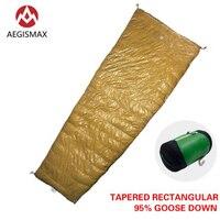 AEGISMAX LIGHT White Goose Down Envelope 3 Season Down Lengthened Adult Nylon Spring Outdoor Camping Sleeping Bag Golden color