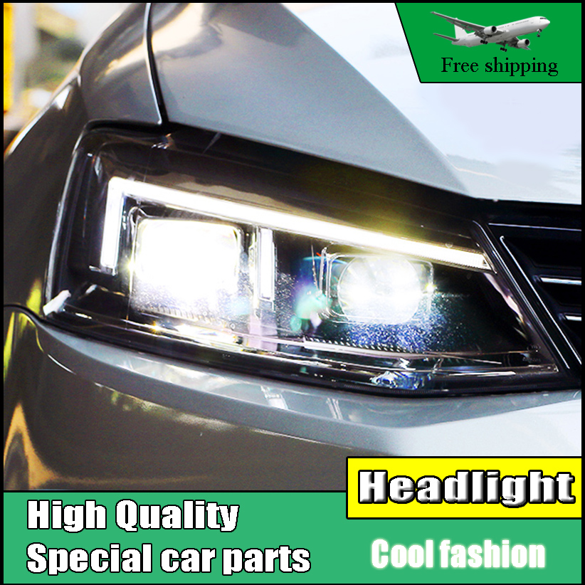 Car Styling Head Lamp case For VW Jetta MK6 2012-2017 Headlights LED Light bar Headlight DRL Daytime Running Light Bi-Xenon Lens wljh 2x canbus no error led p21w 1156 ba15s drl driving daytime running fog lamp light for vw sagitar jetta mk6 2011 2012 2013