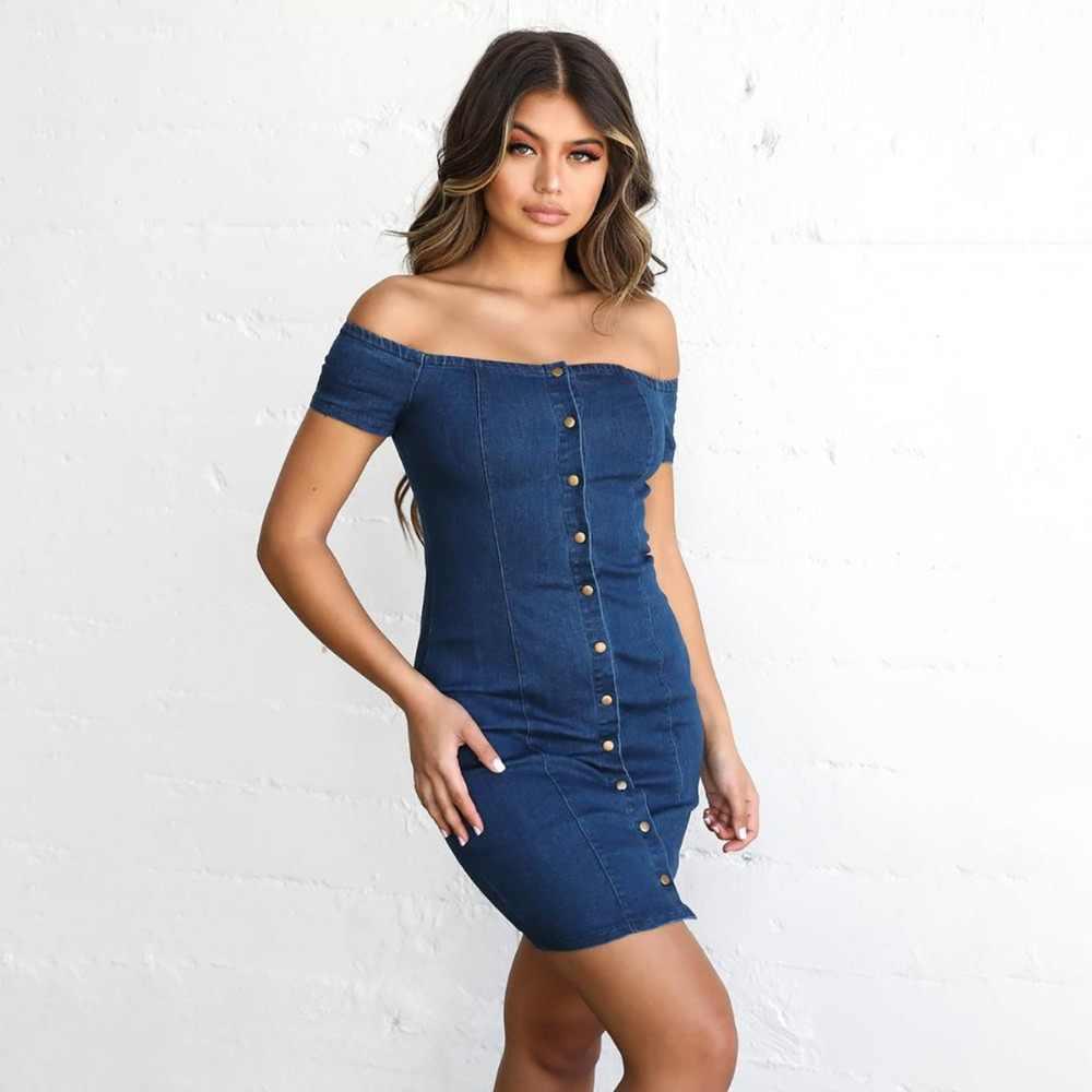 BornToGirl/облегающее сексуальное джинсовое платье с вырезом лодочкой для женщин; сезон весна-лето; синие джинсовые платья с коротким рукавом; robe femme ete 2019